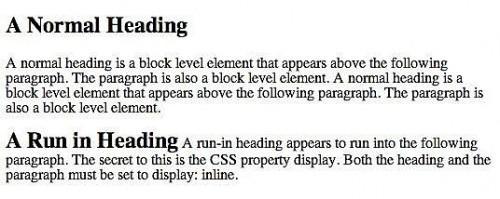 Hur man skapar en Run-In rubrik med CSS