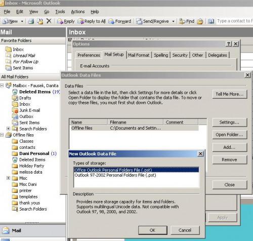 Hur man skapar en personlig mapp i Outlook 2003